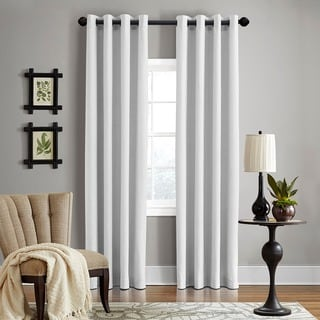 Grand Luxe Linen Gotham Optical White Grommet Curtain Panel