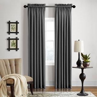 Grand Luxe Gotham Dark Grey Linen Rod Pocket Panel