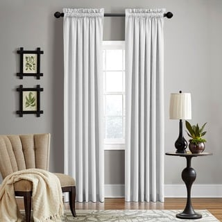 Grand Luxe Linen Gotham Optical White Rod Pocket Curtain Panel