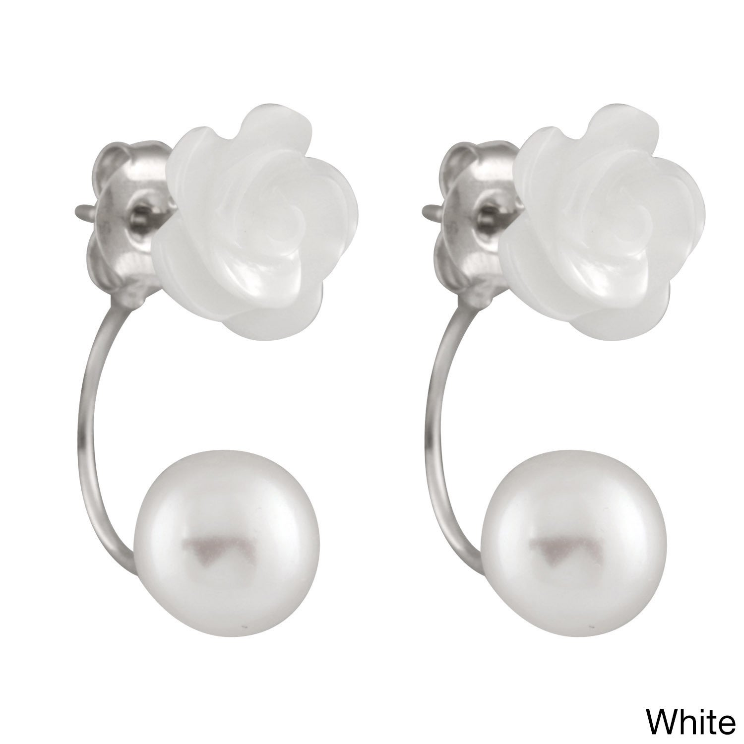 Sterling Silver Mother Of Pearl And Freshwater Flower Earrings 8 9mm