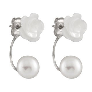 Sterling Silver Mother of Pearl and Freshwater Pearl Flower Earrings (8-9mm)