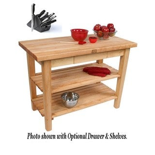 John Boos C10-D-2S-TLR Maple 48x36 Work Table with Drawer / 2 Shelves / Towel Rack and Henckels 13-piece Knife Block Set