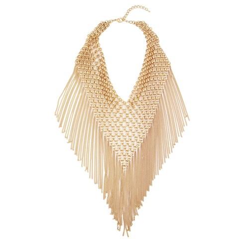 Handmade Saachi Triangle Statement Chain Bib Necklace with Tassles (China)