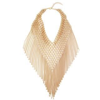 Handmade Saachi Triangle Statement Chain Bib Necklace with Tassles (China) (Option: Black)|https://ak1.ostkcdn.com/images/products/11417684/P18380970.jpg?impolicy=medium