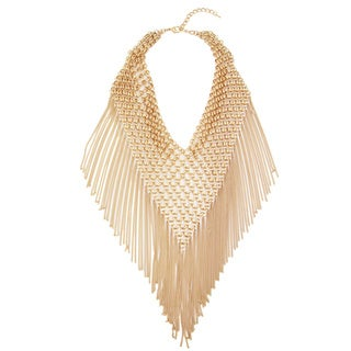 Handmade Saachi Triangle Statement Chain Bib Necklace with Tassles (China)