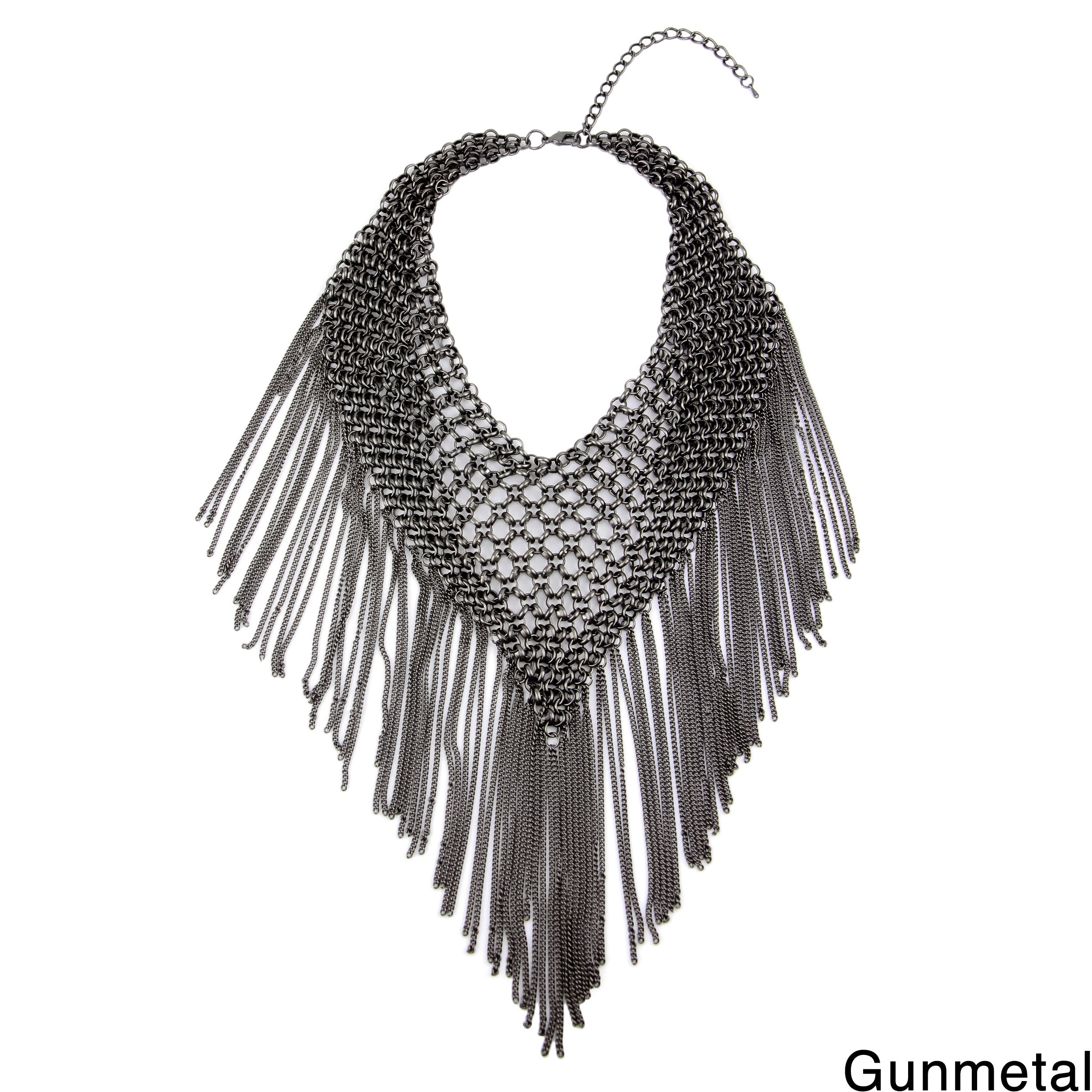 Handmade Saachi Triangle Statement Chain Bib Necklace wit...