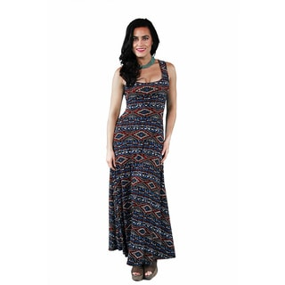 24/7 Comfort Apparel Women's Abstract Mosaic Scoop-Neck Tank Maxi