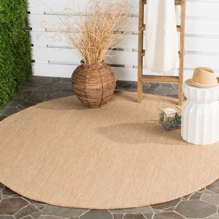 Safavieh Indoor/ Outdoor Courtyard Natural/ Cream Rug (6' 7 Round)