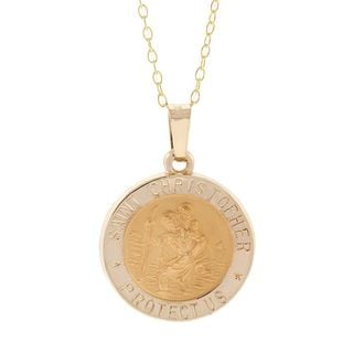 Pori 14k Yellow Gold St. Christopher Medal Necklace