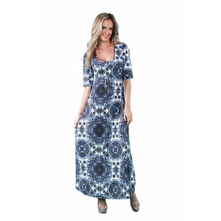 24/7 Comfort Apparel Women's Blue Mandala Printed Maxi
