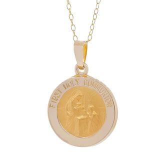 Pori 14k Yellow Gold First Holy Commuinion Medal Necklace