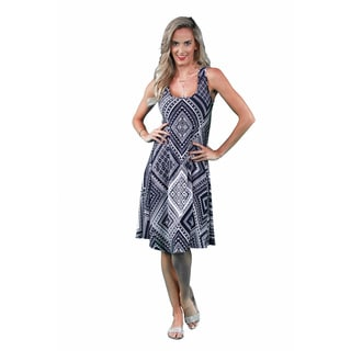 24/7 Comfort Apparel Women's Blue-Cream Rectangle Print Tank Dress