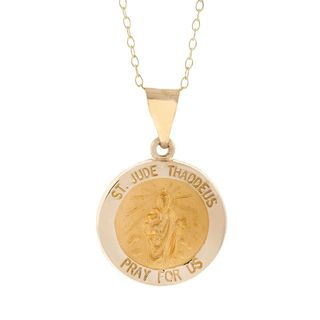 Pori 14k Yellow Gold St. Jude Thaddeus Medal Necklace
