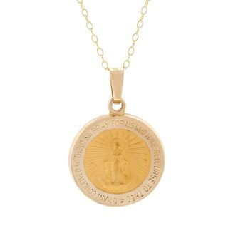 Pori 14k Yellow Gold Virgin Mary Medal Necklace