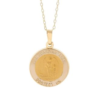Pori 14k Yellow Gold Our Guardian Angel Medal Necklace