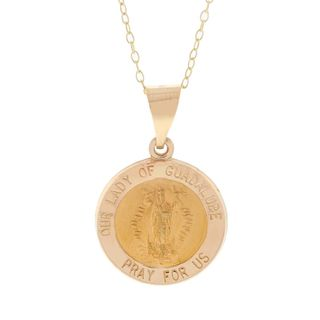 Pori 14k Yellow Gold Lady of Guadalupe Medal Necklace