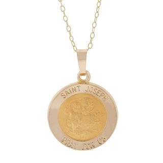 Pori 14k Yellow Gold St. Joseph Medal Necklace