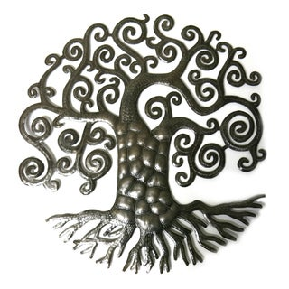 Handcrafted Recycled Steel Drum Whimsical Tree of Life Wall Art (Haiti)