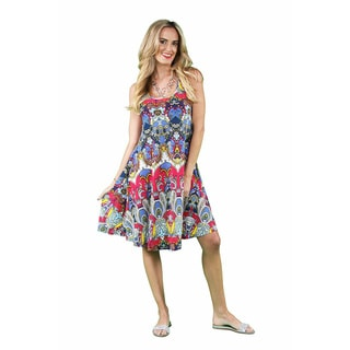 24/7 Comfort Apparel Women's RBG Paisley Printed Tank Dress