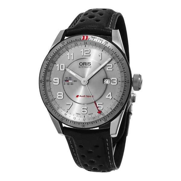 Oris Men's 'Audi' Silver Dial Black Leather Strap Artix GMT Swiss Automatic Watch