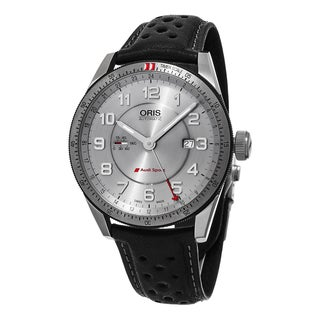 Oris Men's 747 7701 4461 LS 'Audi' Silver Dial Black Leather Strap Artix GMT Swiss Automatic Watch