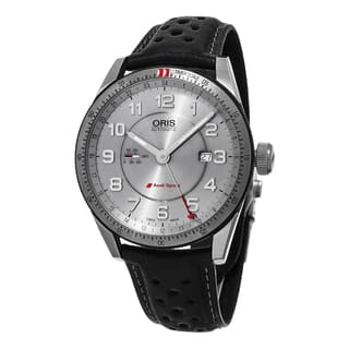 Oris Men's 747 7701 4461 LS 'Audi' Silver Dial Black Leather Strap Artix GMT Swiss Automatic Watch|https://ak1.ostkcdn.com/images/products/11417802/P18381030.jpg?impolicy=medium