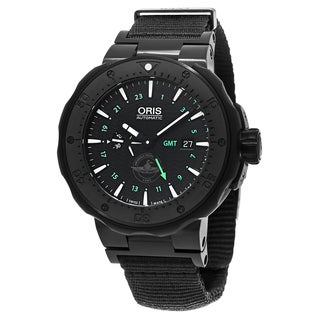 Oris Men's 747 7715 7754 SET 'Diver Force Recon' Black Dial Black Strap GMT Titanium Swiss Automatic