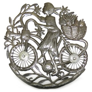 Handcrafted Recycled Steel Drum Girl on Bicycle Wall Art (Haiti)