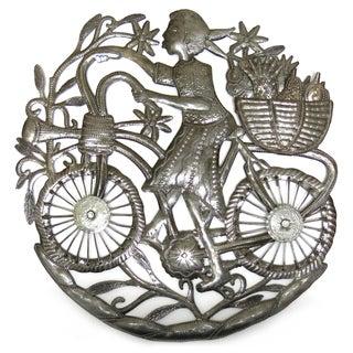 Handmade Recycled Steel Drum Girl on Bicycle Wall Art (Haiti)