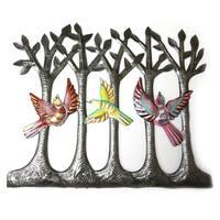 Handmade Recycled Steel Drum Painted Birds in the Woods Wall Art (Haiti)