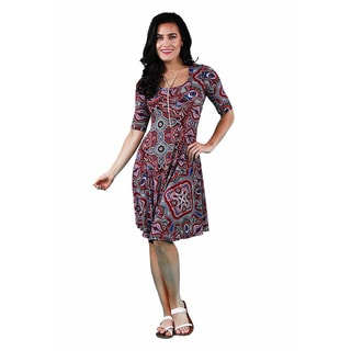 24/7 Comfort Apparel Women's Jagged Paisley Printed Dress
