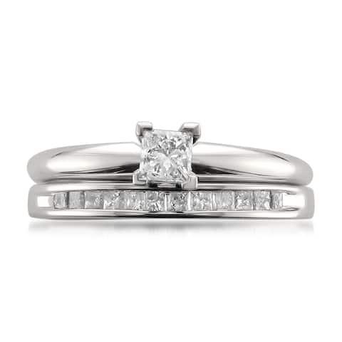 Montebello 14KT White Gold 1/2ct TDW Princess-cut Bridal Set