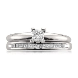 Montebello 14k White Gold 1/2ct TDW Princess-cut Solitaire Diamond Engagement Ring and Wedding Band