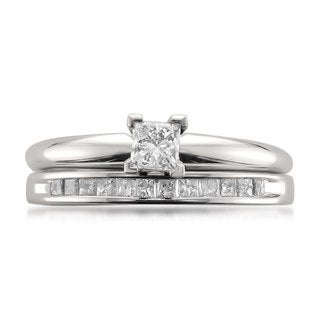 Montebello 14k White Gold 1/2ct TDW Princess-cut Solitaire Diamond Engagment Ring and Wedding Band Bridal Set (I-J, I1-I2)