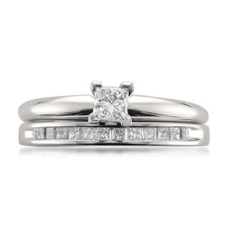Montebello 14k White Gold 1/2ct TDW Princess-cut Solitaire Diamond Engagement Ring and Wedding Band|https://ak1.ostkcdn.com/images/products/11417833/P18381890.jpg?impolicy=medium
