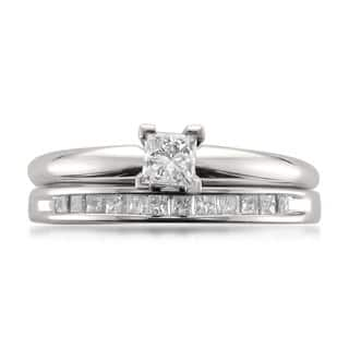 Montebello 14k White Gold 1 2ct TDW Princess Cut Solitaire Diamond Engagement Ring And