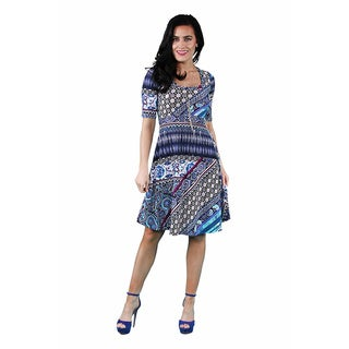 24/7 Comfort Apparel Women's Floral Mosaic Printed Dress