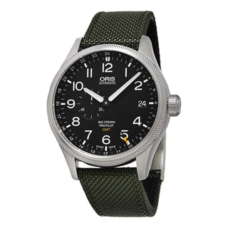 Oris Men's 748 7710 4164 LS 14 'Big Crown' Black Dial Green Fabric Strap ProPilot GMT Swiss Automatic Watch