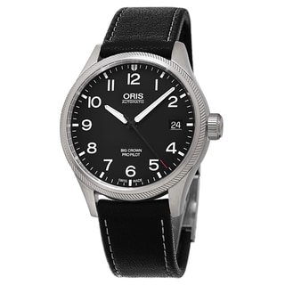Oris Men's 751 7697 4164 LS 15 'Big Crown' Black Dial Black Leather Strap ProPilot Date Swiss Automatic Watch