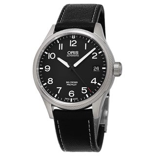 Oris Men's 751 7697 4164 LS 15 'Big Crown' Black Dial Black Leather Strap ProPilot Date Swiss Automa
