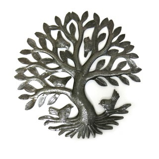Handcrafted Recycled Steel Drum Small Tree of Life Metal Art (Haiti)