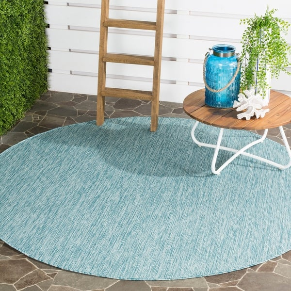 Shop Safavieh Indoor/ Outdoor Courtyard Aqua/ Aqua Rug