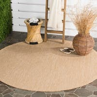 "Safavieh Indoor/ Outdoor Courtyard Natural/ Cream Rug - 6'7"" x 6'7"" round"
