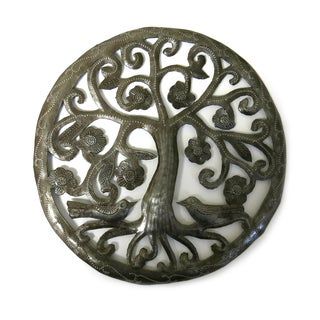 Handcrafted Recycled Steel Drum Small Flowering Tree Metal Art (Haiti)