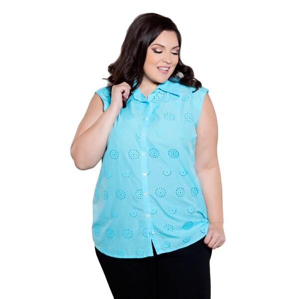 Sealed with a Kiss Women's Plus Size Tatiana Eyelet Top