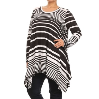 MOA Collection Women's Plus Size Black Striped Dress