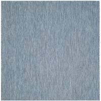 Safavieh Indoor/ Outdoor Courtyard Navy/ Grey Rug (6' 7 Square)