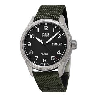 Oris Men's 752 7698 4164 LS 14 'Big Crown' Black Dial Green Fabric Strap ProPilot DayDate Swiss Automatic Watch