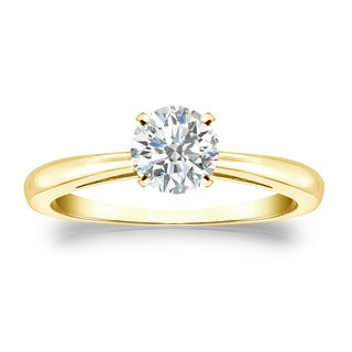 Auriya 18k Gold 1/2ct TDW Round Diamond Solitaire Engagement Ring