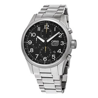 Oris Men's 774 7699 4134 MB 'Big Crown' Black Dial Stainless Steel Chronograph Swiss Automatic Watch|https://ak1.ostkcdn.com/images/products/11418792/P18382003.jpg?_ostk_perf_=percv&impolicy=medium